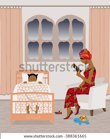 African mother reading a bedtime story to her daughter - stock vector