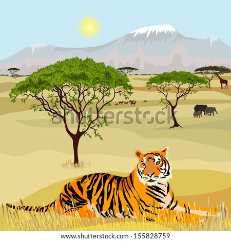 African Mountain idealistic landscape with tiger - stock vector