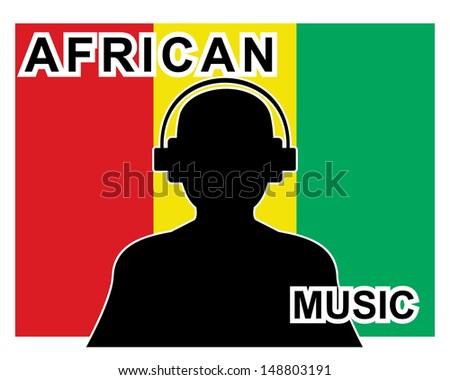 african music concept with a silhouette of a man with headphones and flag in background  - stock vector