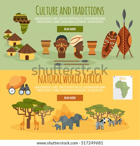 African nature culture and traditions 2 flat horizontal banners design abstract isolated vector illustration - stock vector