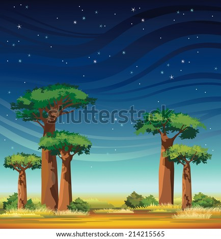 African night landscape with baobabs and starry sky. Natural vector. - stock vector