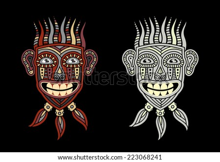 African or Indian mask in soothing tones. Idol of the natives. Totem Aboriginal savages. - stock vector