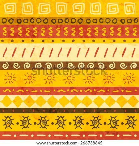 African ornament seamless with handdraw elements. Vector illustration - stock vector