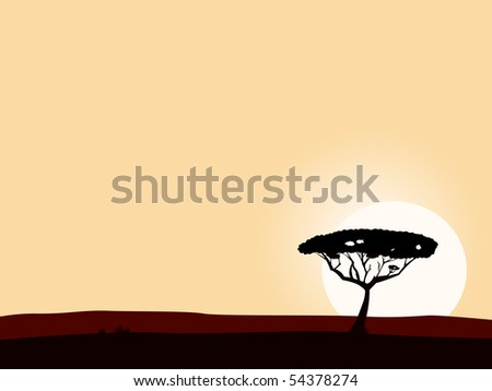 African safari background with acacia black tree silhouette. Vector illustration of black tree on yellow sunset background. Big copyspace - write your own text! - stock vector