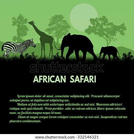 African Safari poster. Wild african animals silhouettes on green with space for your text, vector illustration - stock vector