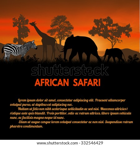African Safari poster. Wild african animals silhouettes on sunset with space for your text, vector illustration - stock vector