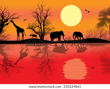 African safari theme vector illustration with giraffes and elephants on sunet - stock vector