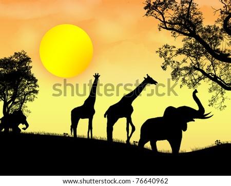 African safari theme vector illustration with giraffes and elephants on sunet - stock vector