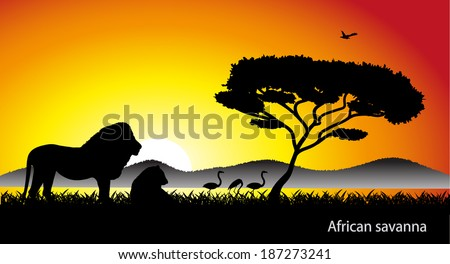 African savanna landscape - stock vector