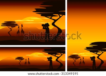 African savanna with explorer and giraffes in different formats - stock vector