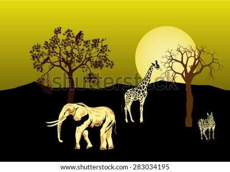 African savannah at night illustration. Elephants, giraffe, zebra, trees silhouettes , moon disk.All objects grouped and separated - stock vector