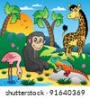 African scenery with animals 5 - vector illustration. - stock photo