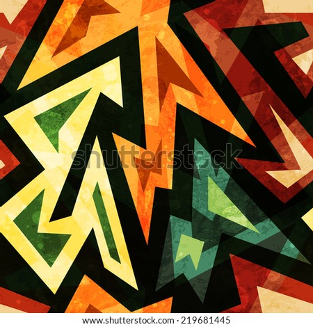 african seamless pattern with grunge effect - stock vector