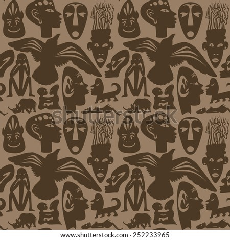 African seamless vector pattern, ancient tribal background, brown - stock vector