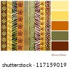 African style earth tone patterns with complimentary colour swatches. EPS10 vector format. - stock vector