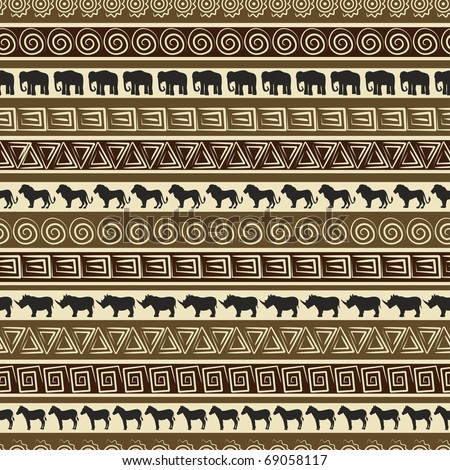 African style seamless pattern with wild animals. - stock vector