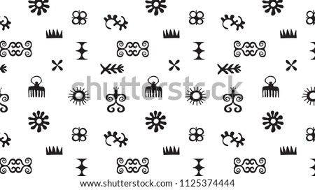 African Symbols Background Pattern Tribal Icons Stock Vector
