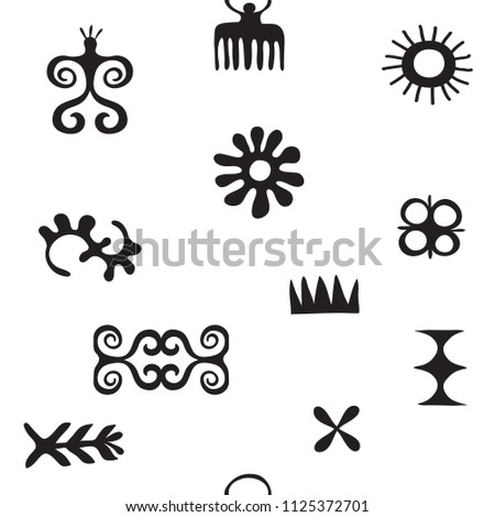African Symbols Pattern Trybal Icons Hieroglyph Stock Vector Hd