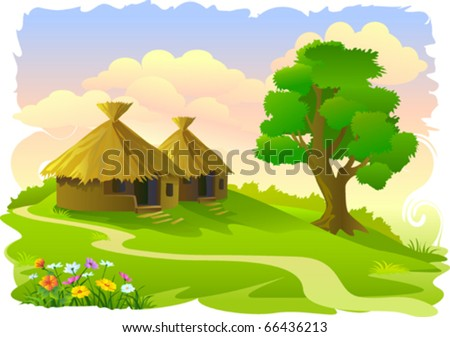 African tribal huts and tree - stock vector