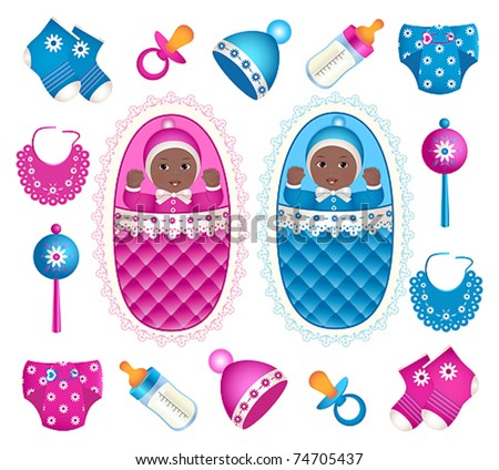African twins with accessories - stock vector