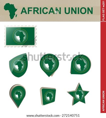 African Union Flag Set, Flag Set #201. Vector. - stock vector