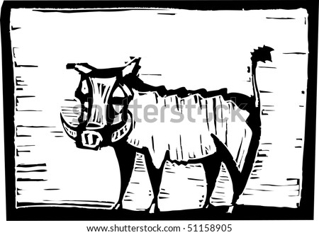 African Warthog in woodcut style in border. - stock vector