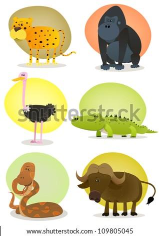 African Wild Animals Set/ Illustration of a set of cartoon wild animals from african savannah, including cheetah, gorilla, ostrich, crocodile, snake and buffalo - stock vector