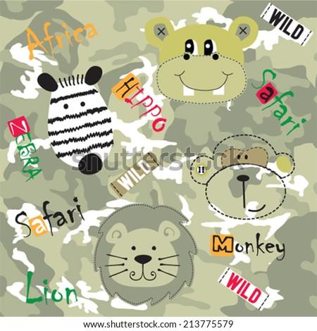 african wild animals zebra hippo lion monkey vector illustration - stock vector