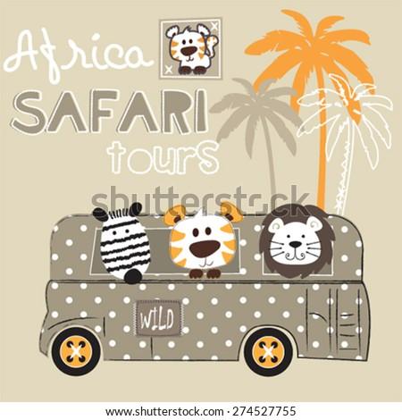 african wild animals zebra tiger lion vector illustration - stock vector