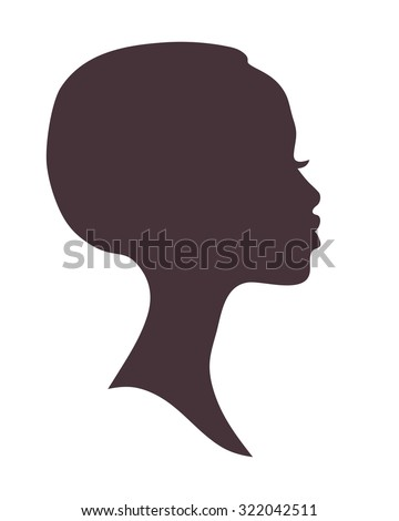 African woman face silhouette. Young attractive modern girl profile sign logo - stock vector
