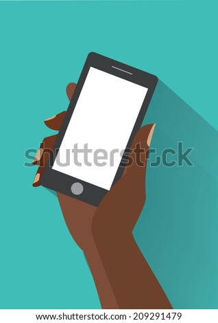 African woman hand holding black smartphone with blank white screen. Using mobile smart phone silimar to iphon, flat design concept. Eps 10 vector illustration - stock vector