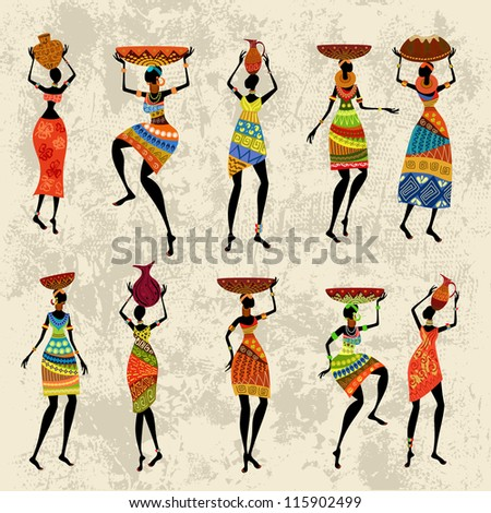 African woman on grunge background - stock vector