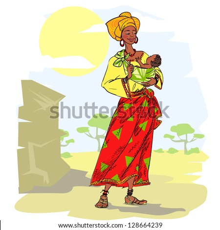 African woman with baby, hand drawn mother and child, sketch - stock vector