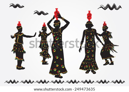 African women and men dance folk dance. - stock vector