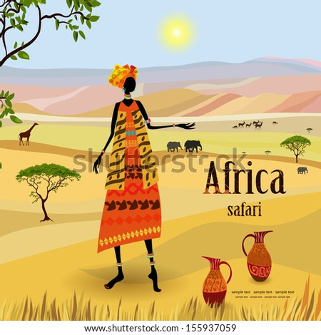 African women in mountain landscape - stock vector