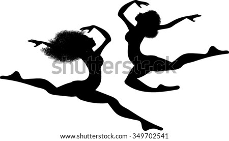 African Women Silhouettes - Dancer - Vector Illustration - stock vector
