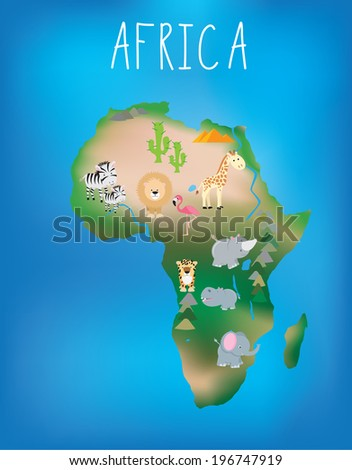 African world map brightly illustrated with cute child friendly animals - stock vector