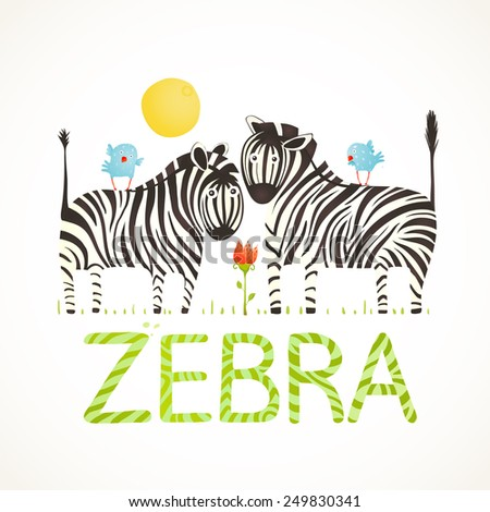 African Zebra Animals and Fun Lettering Cartoon. Brightly colored childish cartoon zebras. Vector illustration EPS10 - stock vector