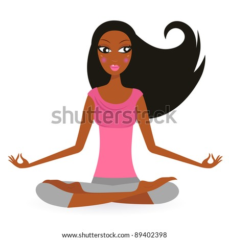Afro - american woman in yoga lotus pose isolated on white