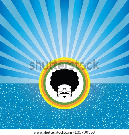 afro man with retro concept vector - stock vector