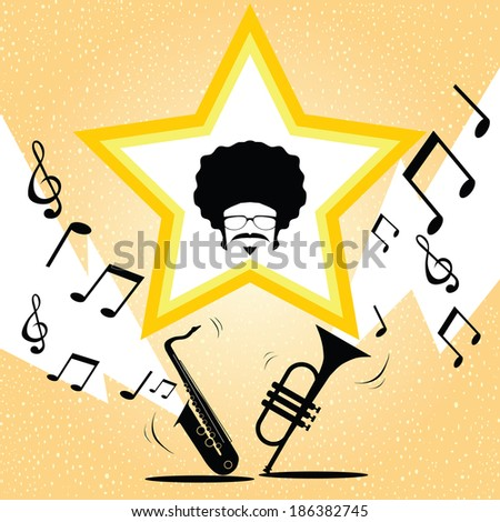 afro man with saxophone and trumpet music vector - stock vector