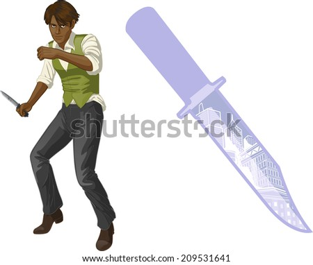 Afroamerican brawling man retro styled cartoon character with colored lineart - stock vector