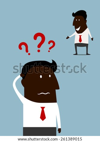 Afroamerican cartoon businessman with a problem standing scratching his head with question marks above and a second variant happy and smiling as he finds the answer - stock vector