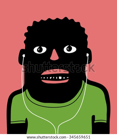 afroamerican with earphones - stock vector