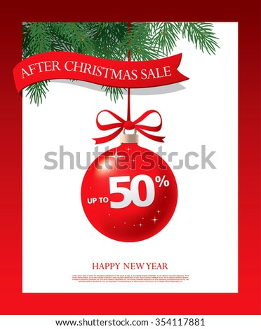 After Christmas sale. Vector banner design - stock vector