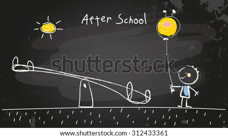 After school activities, kid at playground with balloon. Vector concept chalk doodle on chalkboard, hand drawn illustration.  - stock vector