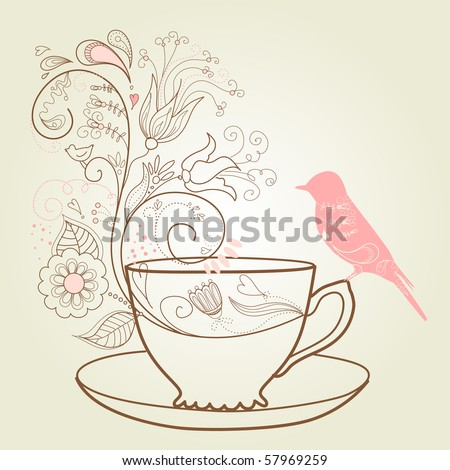 afternoon tea concept - stock vector