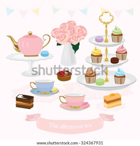 Afternoon Tea Vector Design Illustration - stock vector