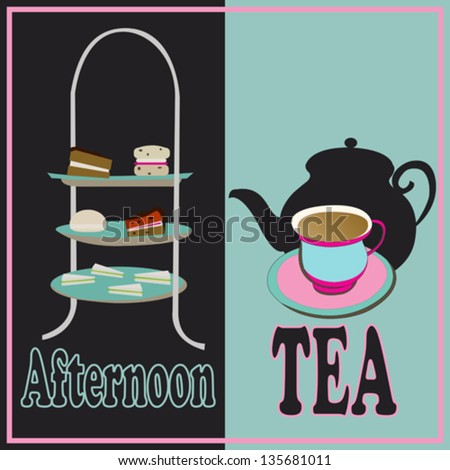 Afternoon Tea, vector retro background with a cake-stand and a teacup for a vintage tea-party - stock vector