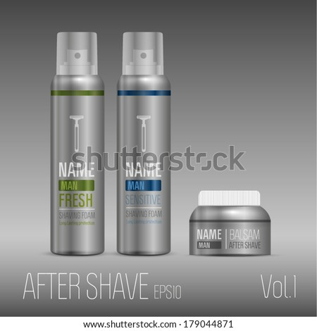 Aftershave silver set for man with balsam - stock vector